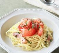 簡単 トマトと生ハムの冷製パスタ