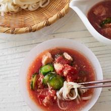 トマトとツナのすりおろしつけ麺