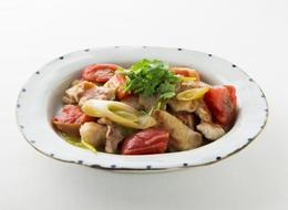 豚とトマトとネギの中華風炒め