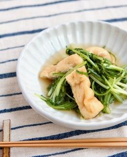 簡単一品 水菜と油あげの煮浸し