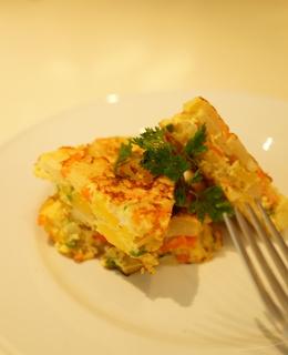 レンジで低カロ 野菜入りスペインオムレツ