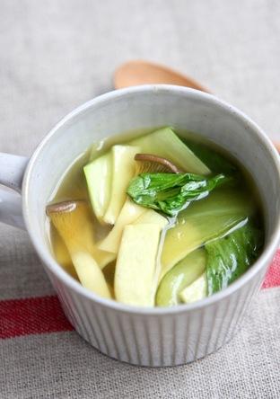 青梗菜とエリンギのオニオンカレースープ