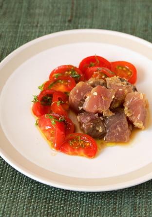 簡単 かつおの茗荷ポン酢和え 大葉トマト添え