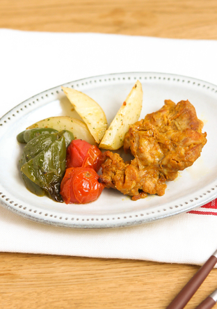 タンドリーチキンとロースト野菜