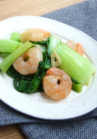 チンゲン菜とえびの中華炒め