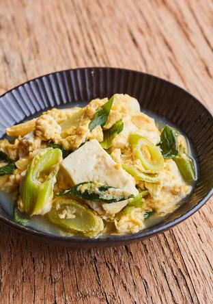 豆腐と長ねぎの卵とじ
