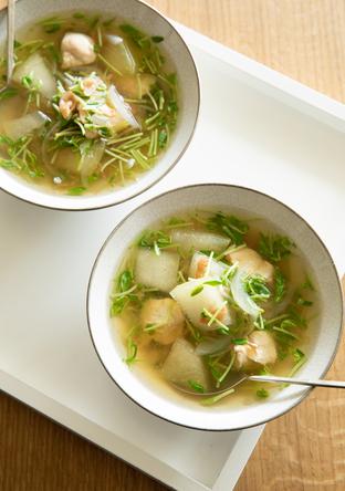 鶏ささ身ととうがんの梅スープ