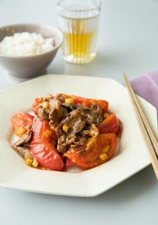 牛肉とトマトの塩酢炒め