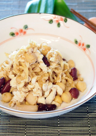 食物繊維たっぷり 切干大根と豆のサラダ