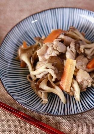 豚肉と舞茸のガーリック味噌炒め