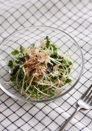 あと一品に 簡単かいわれ海苔サラダ
