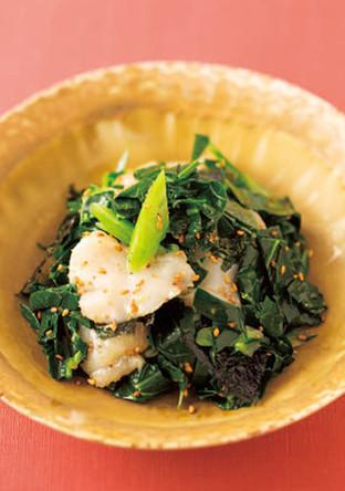 ケールとホタテ、韓国のりのナムル風サラダ