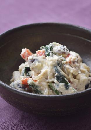 季節野菜とクリームチーズの白和え