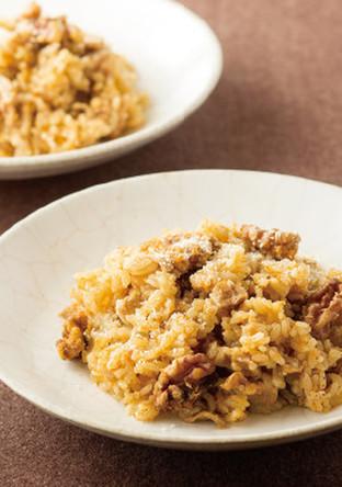 クルミと豚肉 ニンジンの炊き込みご飯