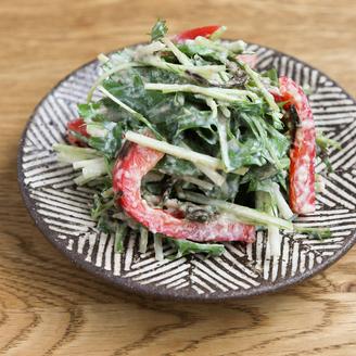 水菜とパプリカの豆腐サラダ