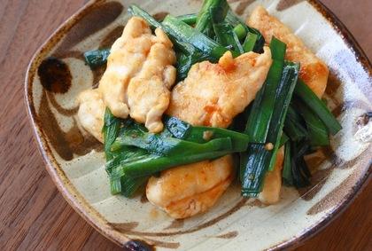 鶏ささみとニラのピリ辛豆板醤炒め