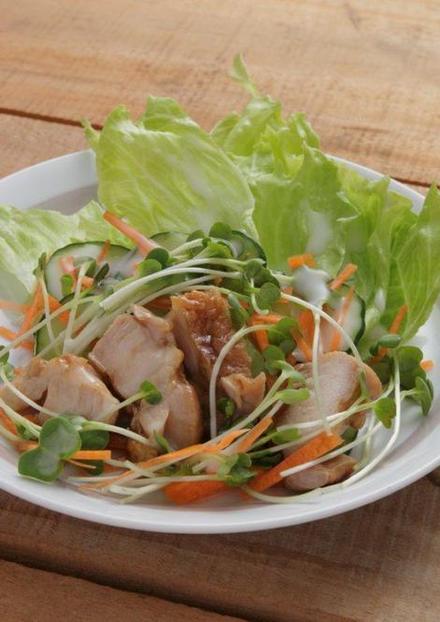 ヘルシーな土佐の地鶏サラダ