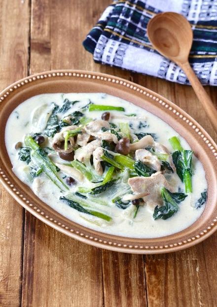 小松菜と豚肉のクリーム煮