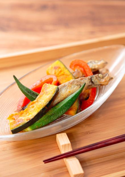 シシャモと夏野菜の焼きびたし
