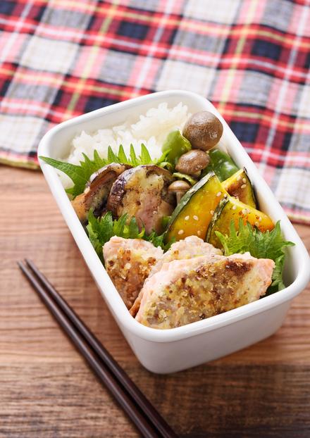 ヘルシー☆鮭の粒マスタード焼き弁当