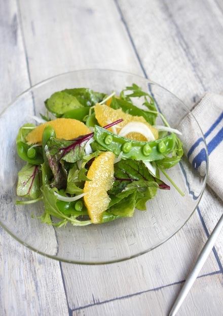 柑橘とスナップえんどうのサラダ