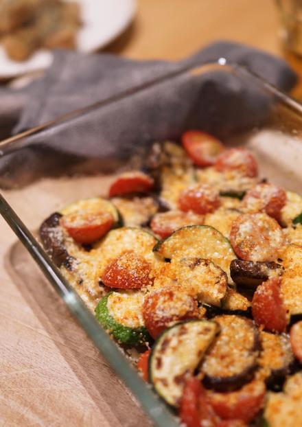 ズッキーニ茄子トマトパルメザン焼き