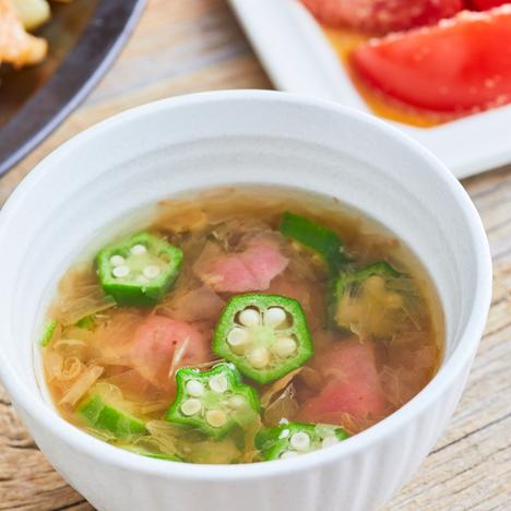オクラの冷たい梅スープ