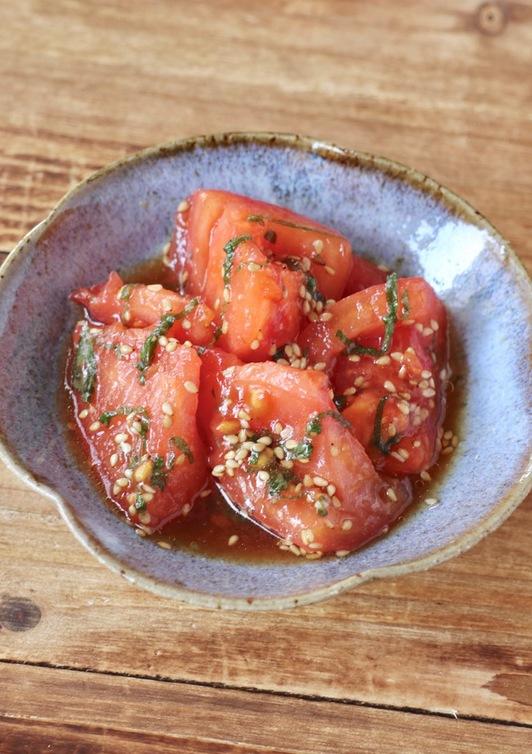 簡単一品 トマトと大葉の和風和え