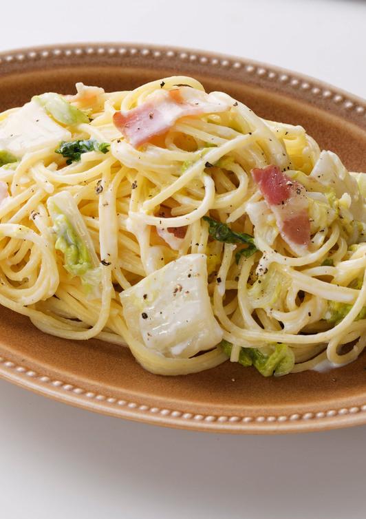 白菜とベーコンのクリームスパゲッティ