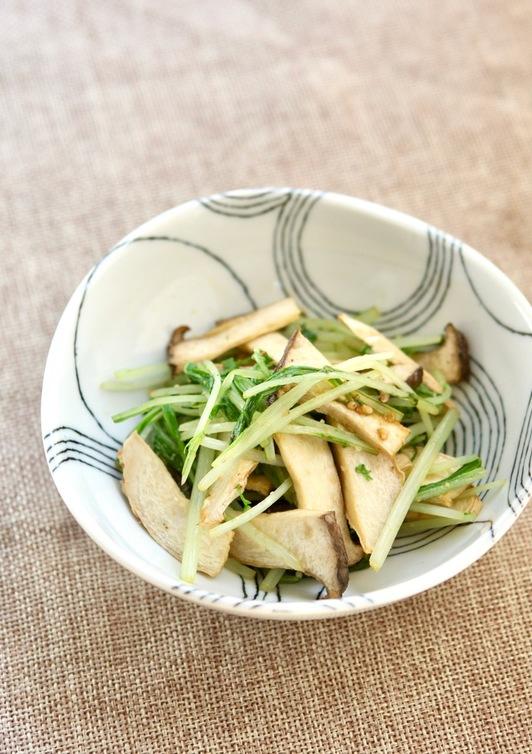 水菜とエリンギの胡麻和え