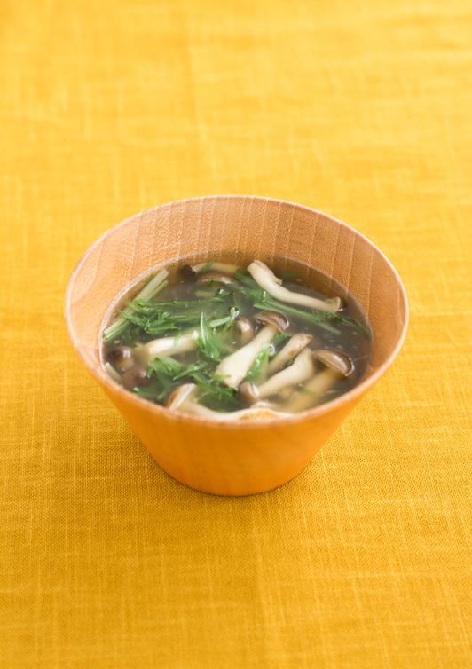 水菜の和風しょうがスープ