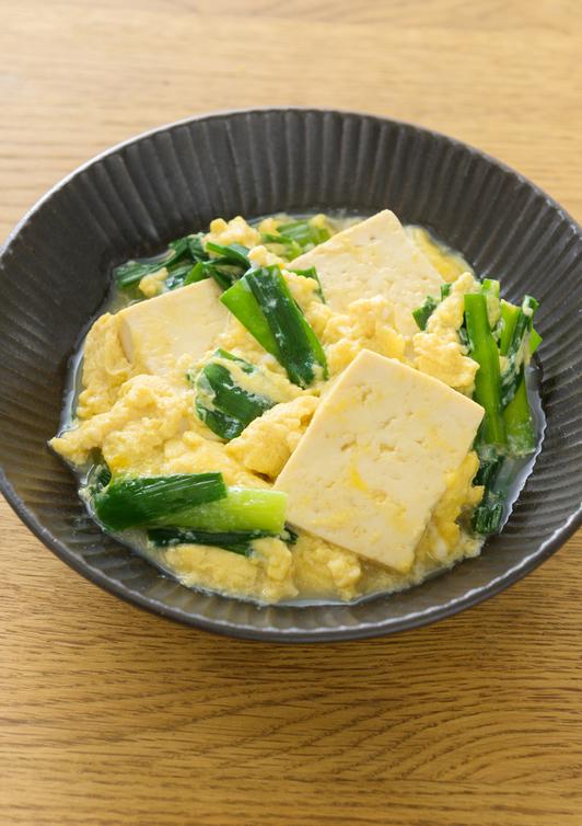中華風 豆腐とにらの卵とじ