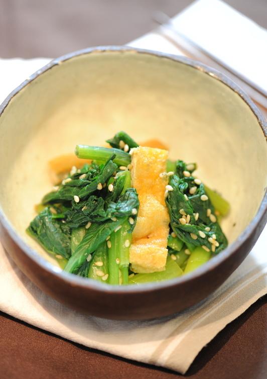 小松菜と油揚げの辛子和え