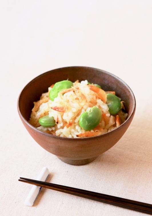 桜海老とそら豆のご飯