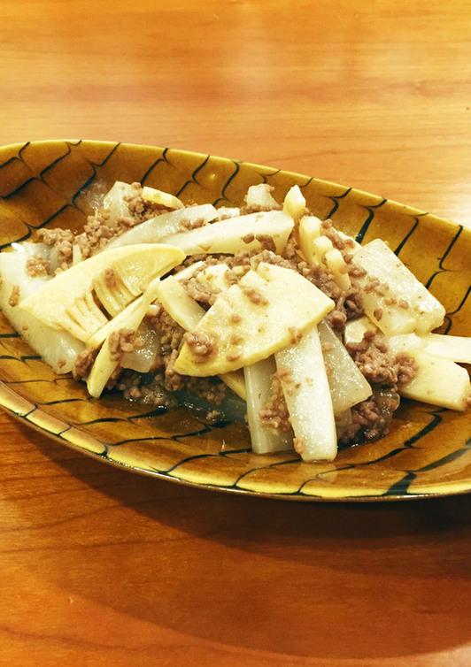 牛挽肉と筍のオイスターソース炒め