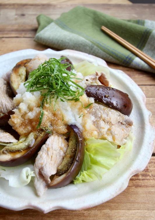豚肉とナス冷しゃぶ にんにくおろしポン酢