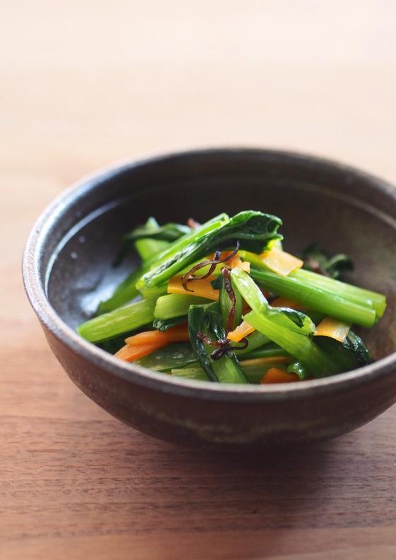 小松菜と塩昆布のナムル風