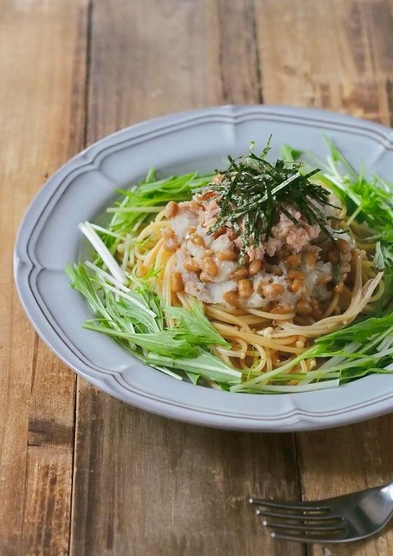 えのきでヘルシー納豆ツナおろしスパゲティ