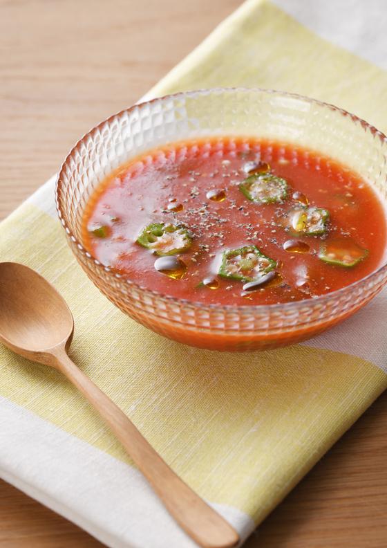 トマトジュースでカンタン冷製スープ