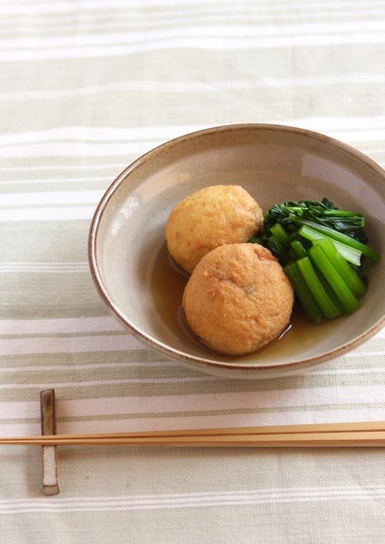 がんもどきと小松菜の煮物