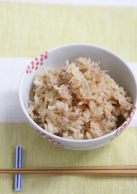 茗荷とツナの炊き込みご飯