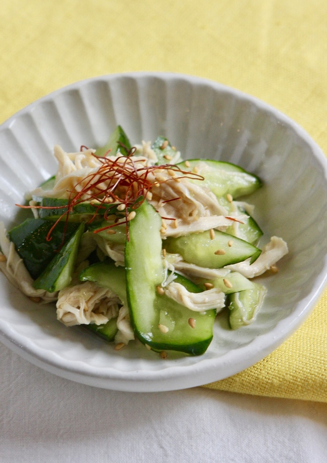 簡単 ささみとたたき胡瓜の中華風ごま和え