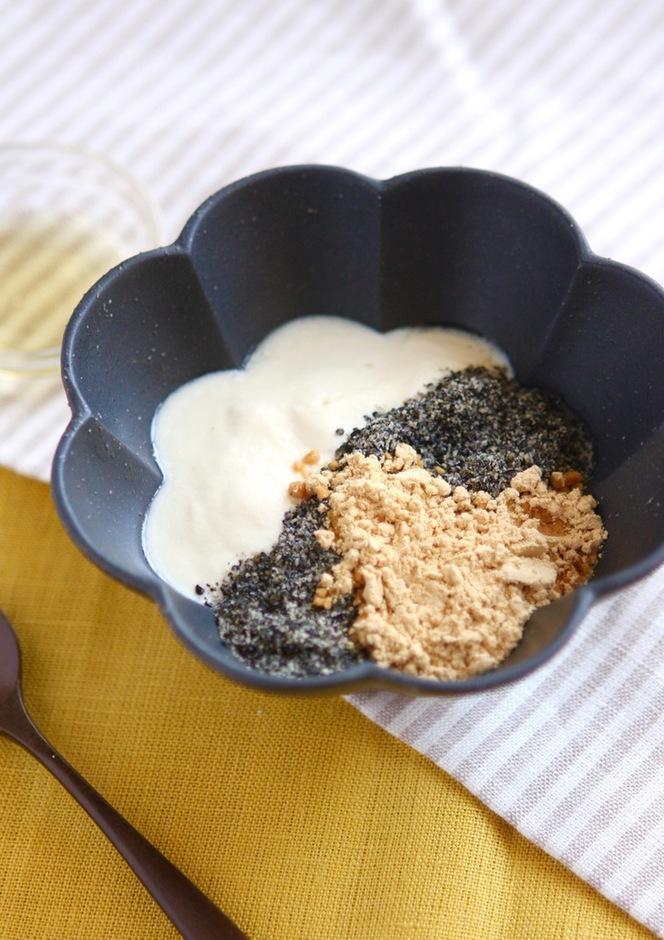 手作り豆乳ヨーグルト (はちみつ・黒ごまきな粉入り)