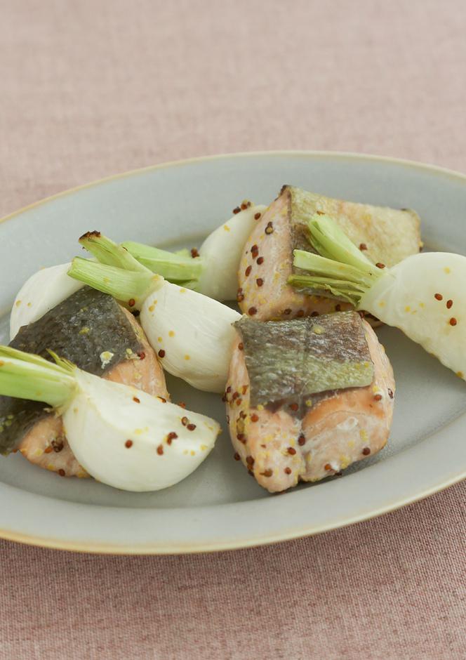 鮭とかぶのマスタード焼き