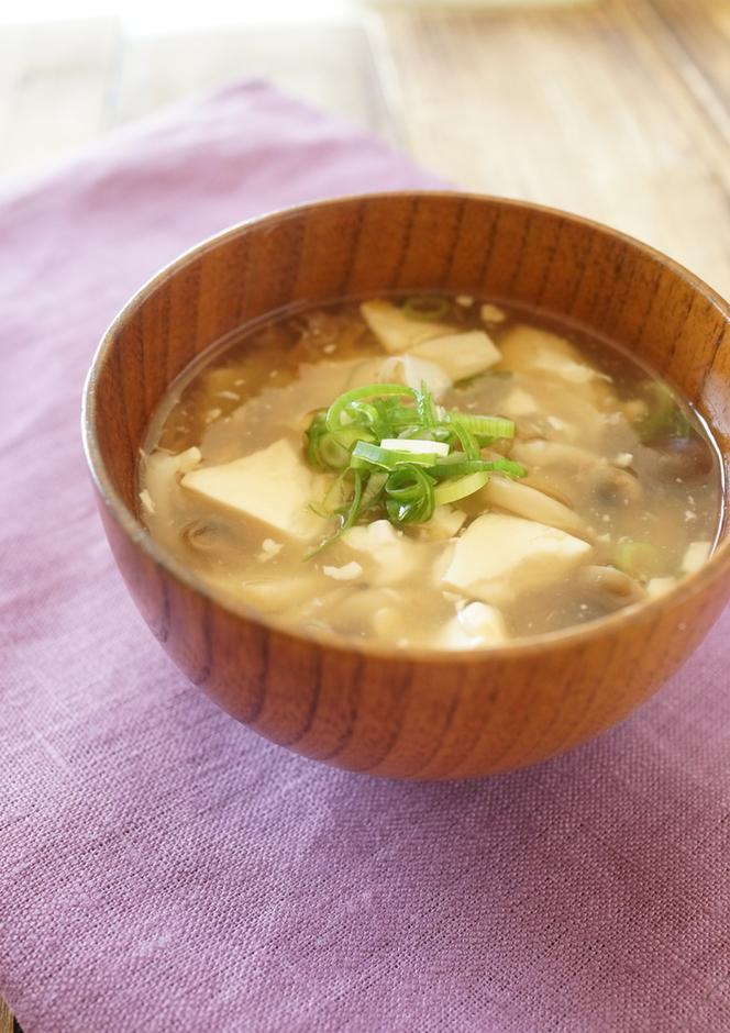 梅香る 豆腐とキノコのとろみスープ