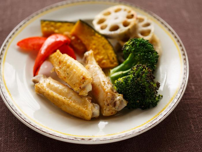 手羽中と野菜のトースター焼き