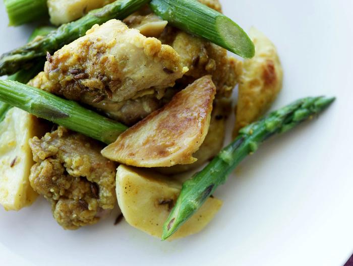 スパイシー チキンとポテトの炒め物