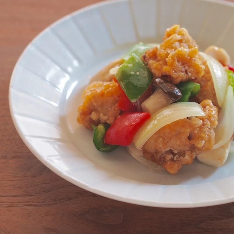 鶏から揚げで酢鶏風