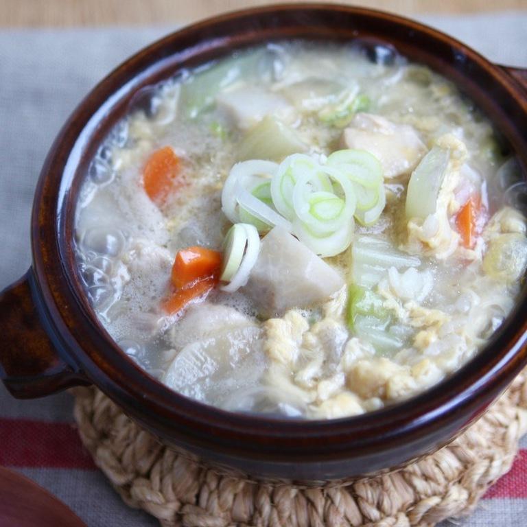 けんちん汁から作る鶏雑炊