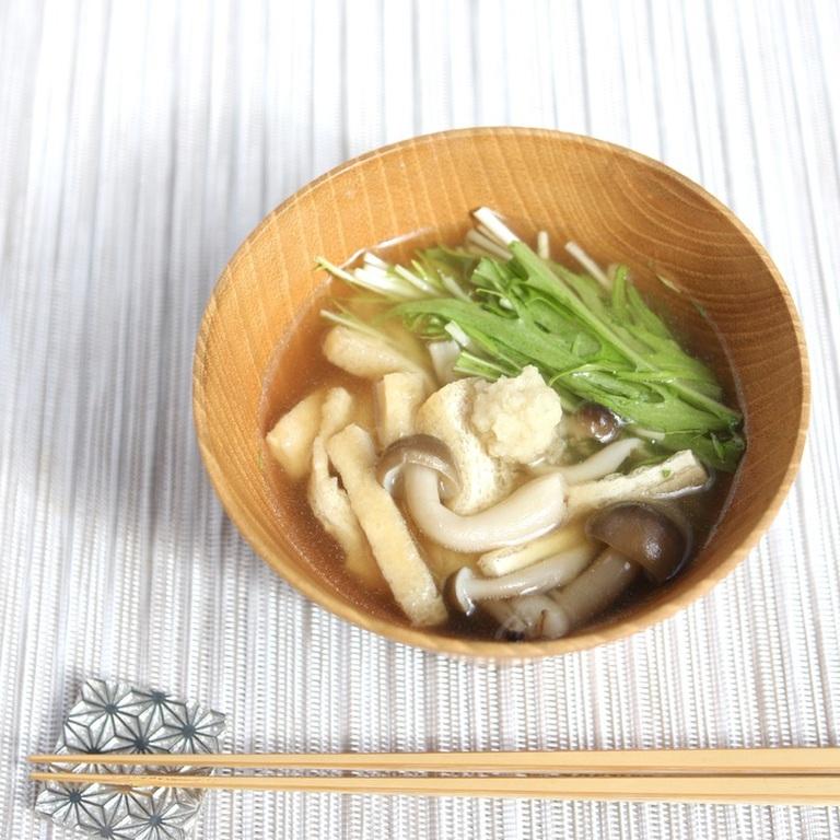 油揚げと水菜のすまし汁